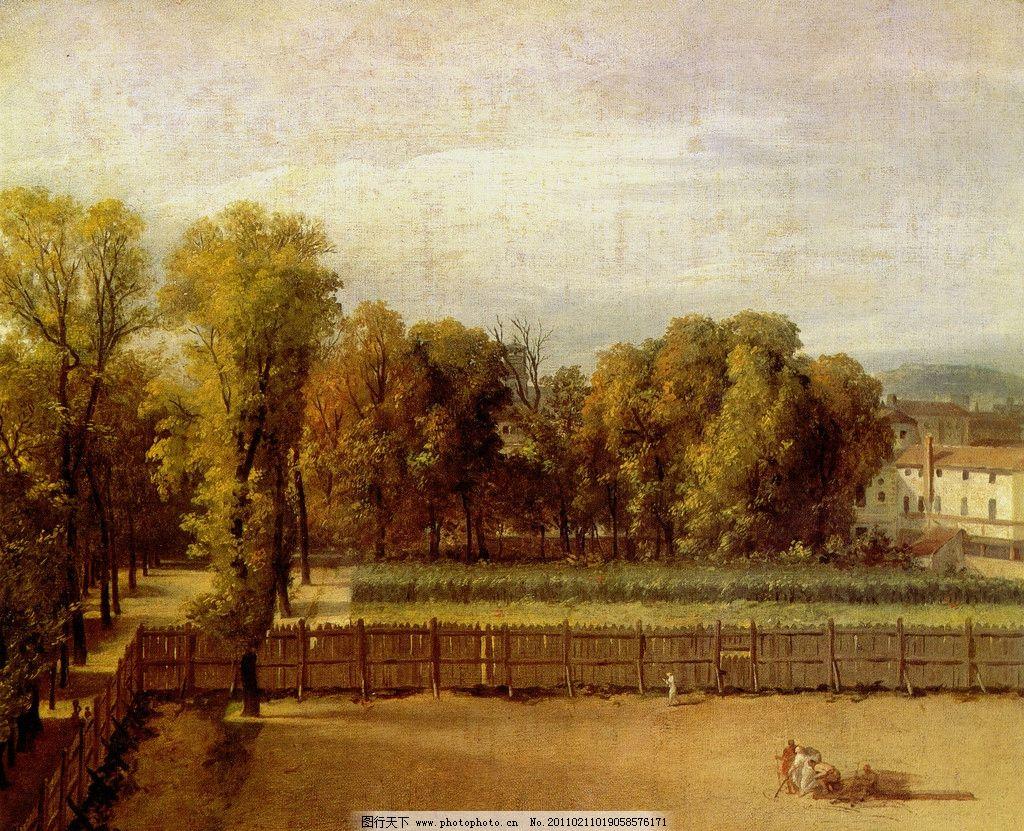 风景油画 西方油画 人 人物 房子 石房 天空 蓝天白云 世界名画