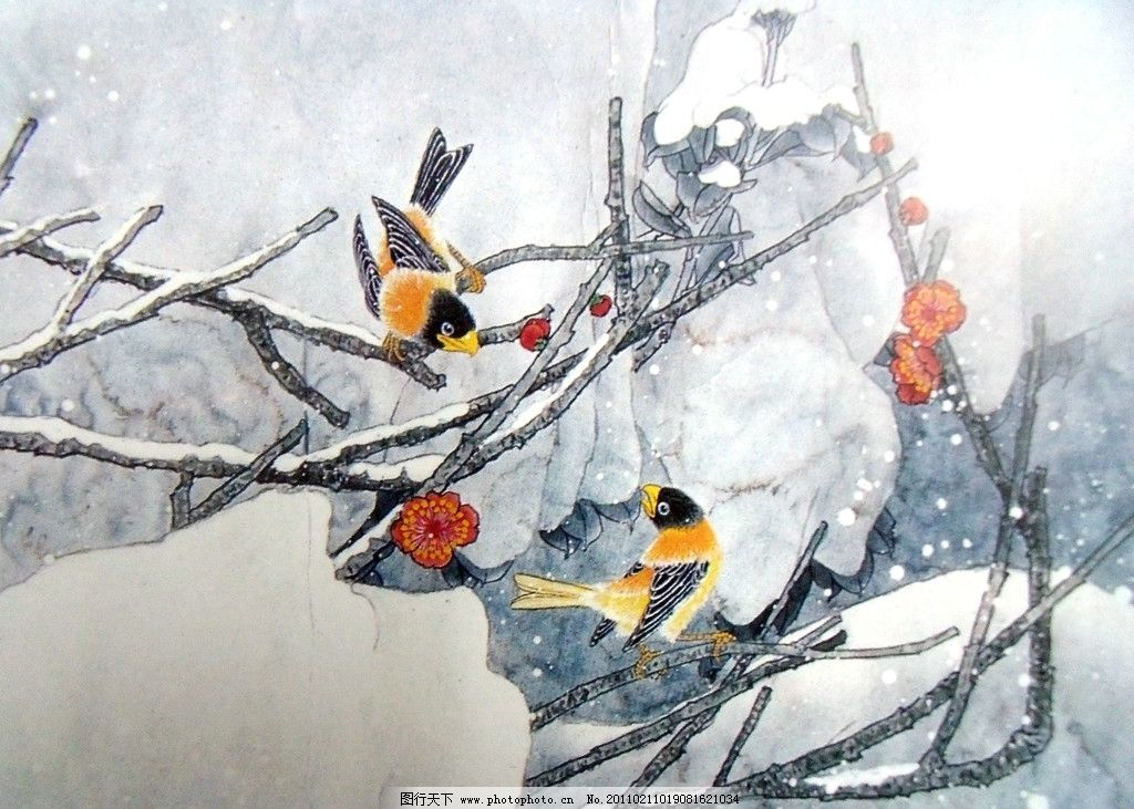 国画山水 花鸟 雪景 冰冻 红色花 对鸟 冬日绽放 国工笔画 美术国画