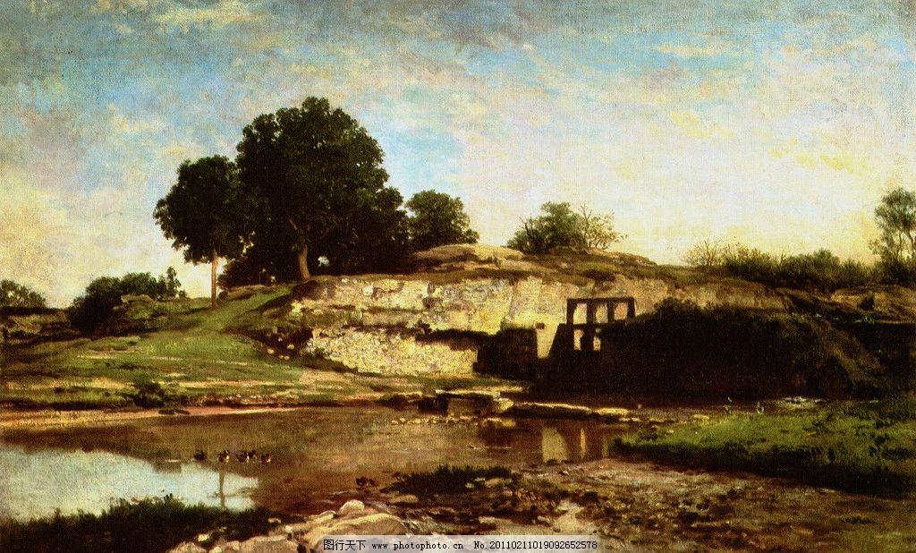风景油画 油画 树 枯树 天空 世界名画 河水 小溪 石头 山坡 绘画书法