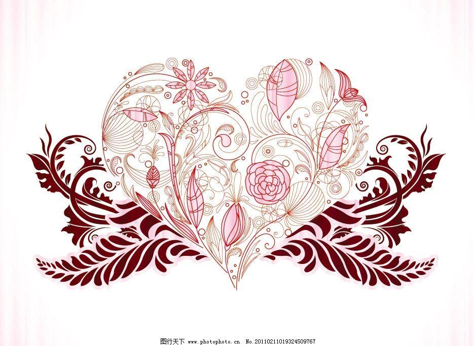 手绘线条爱心花纹图片
