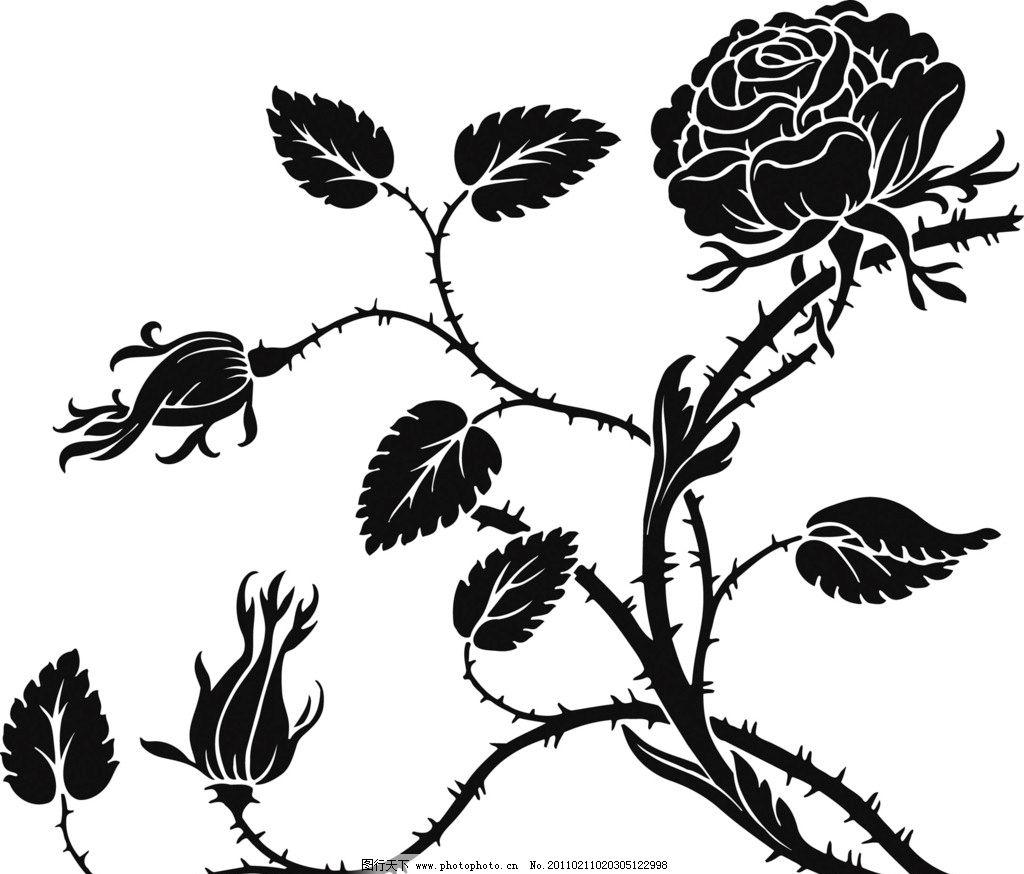 黑白花卉图案 黑白玫瑰花 花边花纹 底纹边框 设计 300dpi jpg