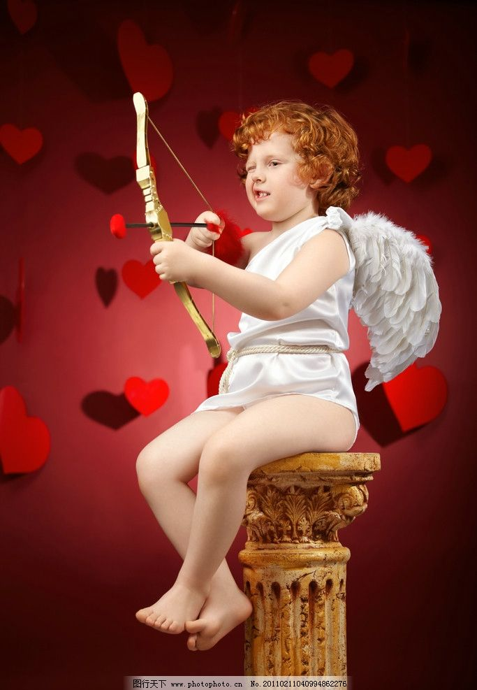 射爱心红心的小天使 弓箭 孩子 可爱 婴儿宝宝设计 儿童幼儿 人物图库