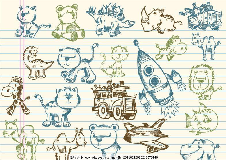 手绘卡通图案图片,卡通猫图案 恐龙 骆驼 河马 手绘猫