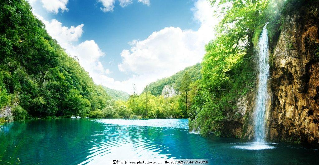 景色 湖水 河水 树木 绿叶 绿树 风景 风光 山脉 蓝天 白云 丛林 山水