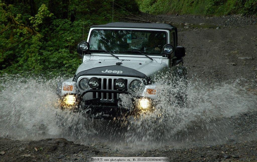 吉普 jeep 越野 河水 水花 汽车 交通工具 现代科技 摄影 300dpi jpg