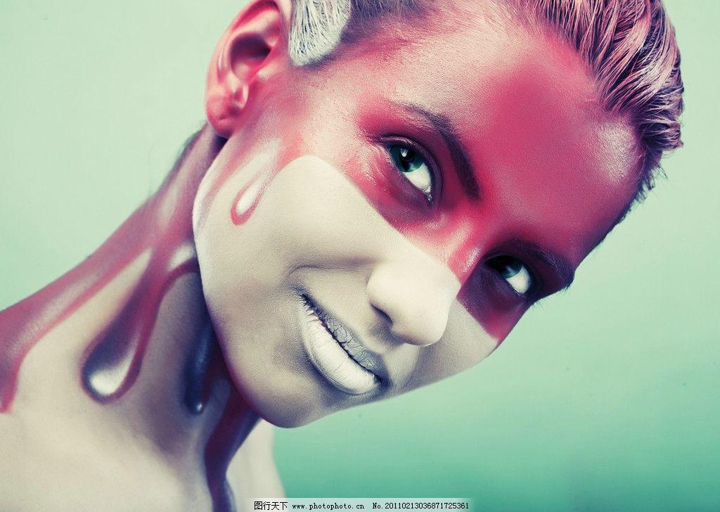 面部彩绘美女图片