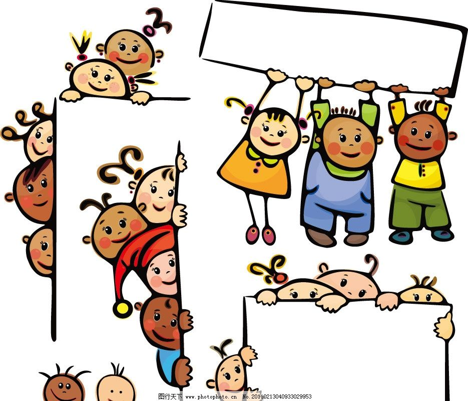 空白广告牌和可爱卡通儿童插画图片_动画素材_flash