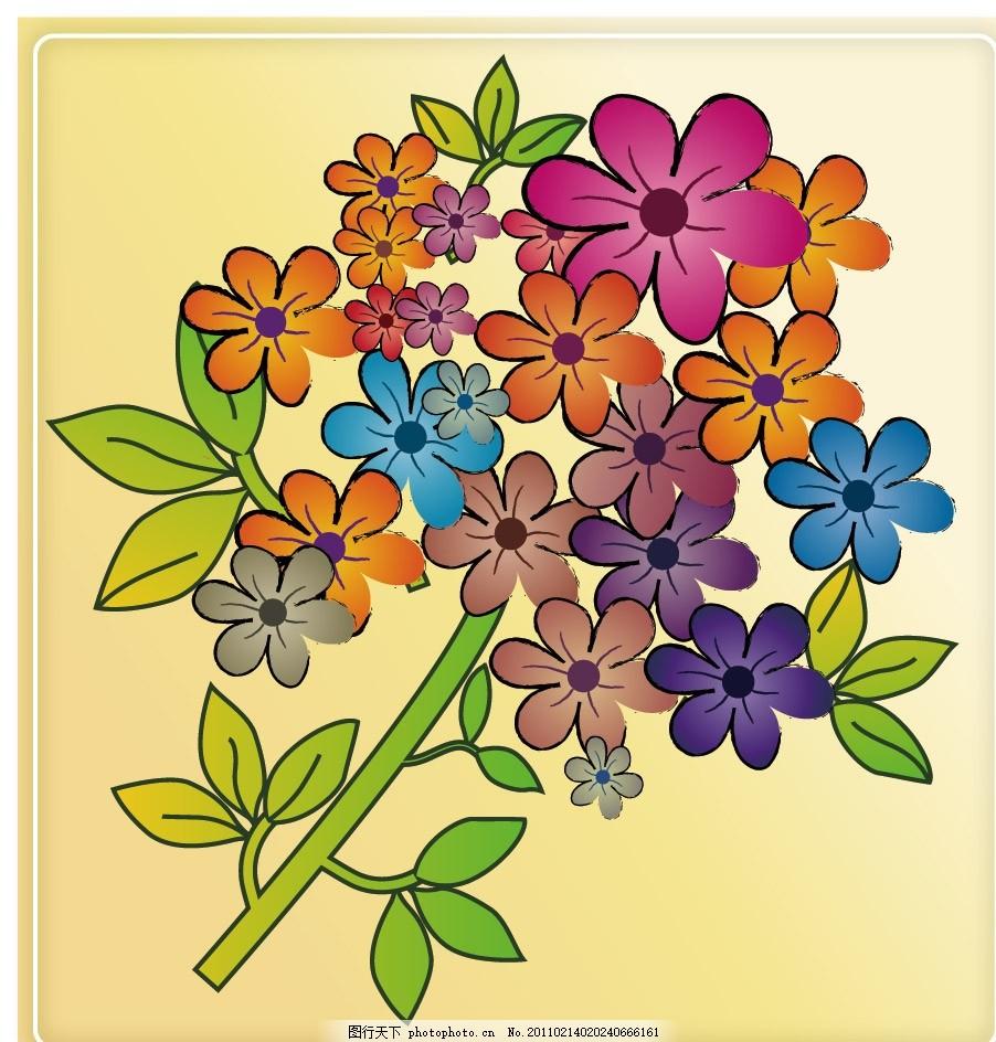 手绘线条花纹花朵