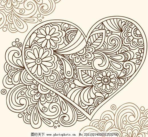 古典花纹矢量素材 花纹 花边 欧式 古典 心型 桃心 手绘 线描 花卉