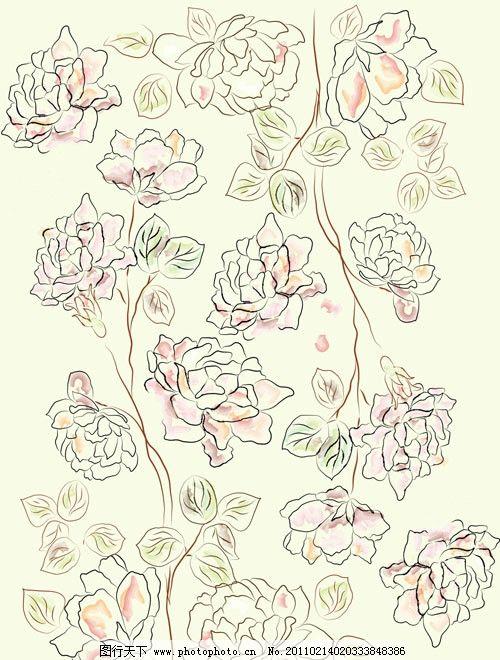 古典花纹矢量素材 花边 玫瑰 玫瑰花 手绘 线描 花卉 花朵 欧式