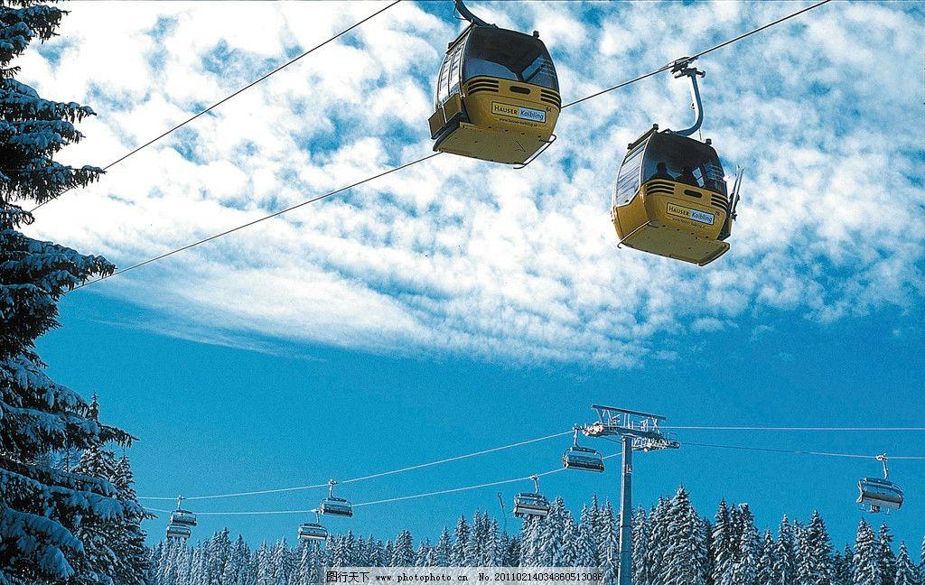 摄影图库 自然景观 自然风景  雪山 蓝天 白云 雪松 雪景 揽车 风景