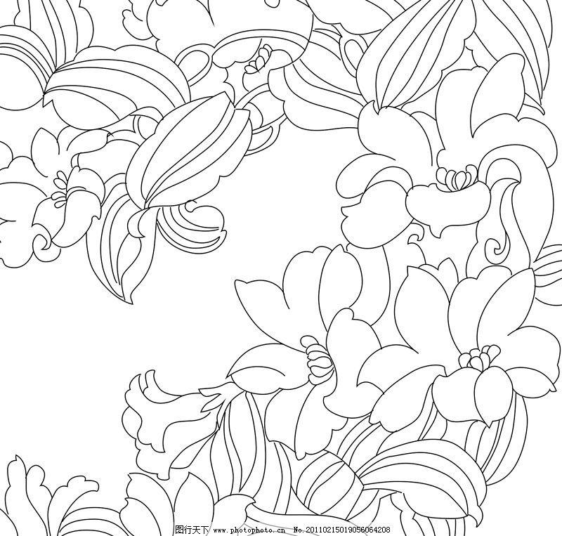 花朵线描 花 牡丹 线描 矢量 花草 叶 美术绘画 文化艺术 cdr