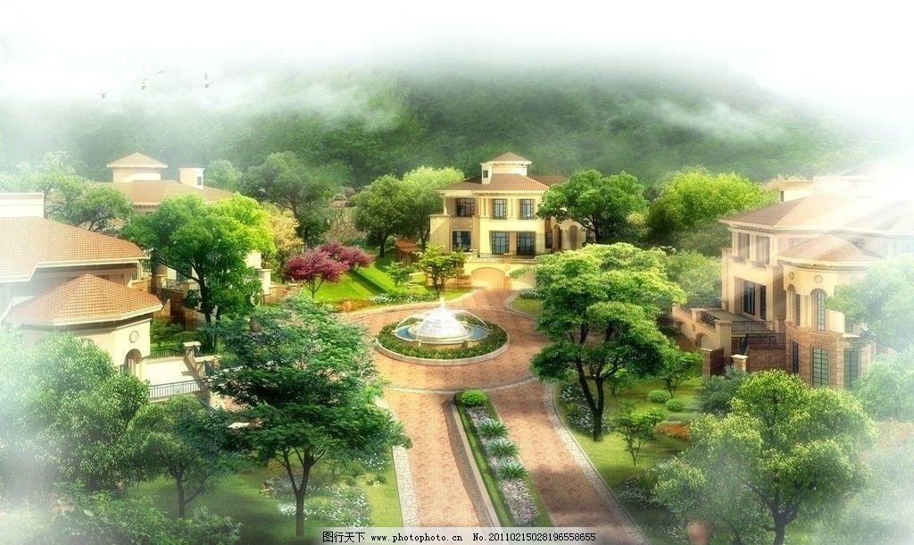 别墅区景观设计效果图图片