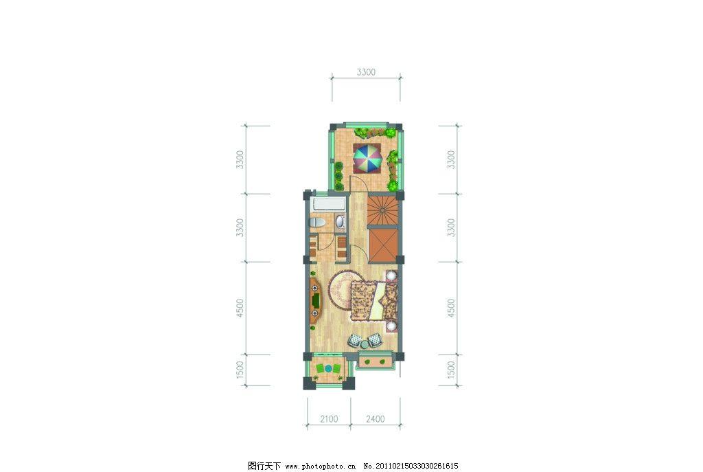 室内平面效果图 室内平面图 户型素材 沙发 桌 床 家具        阳台