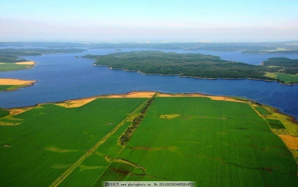 农田 江河 绿色农田 蓝色 天空 岛屿 风景 自然风景 自然景观