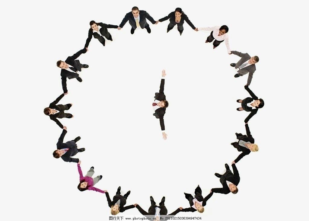 手拉手站成一圈的商务团队 商务造型 商务团队 商务特写 商务创意图片