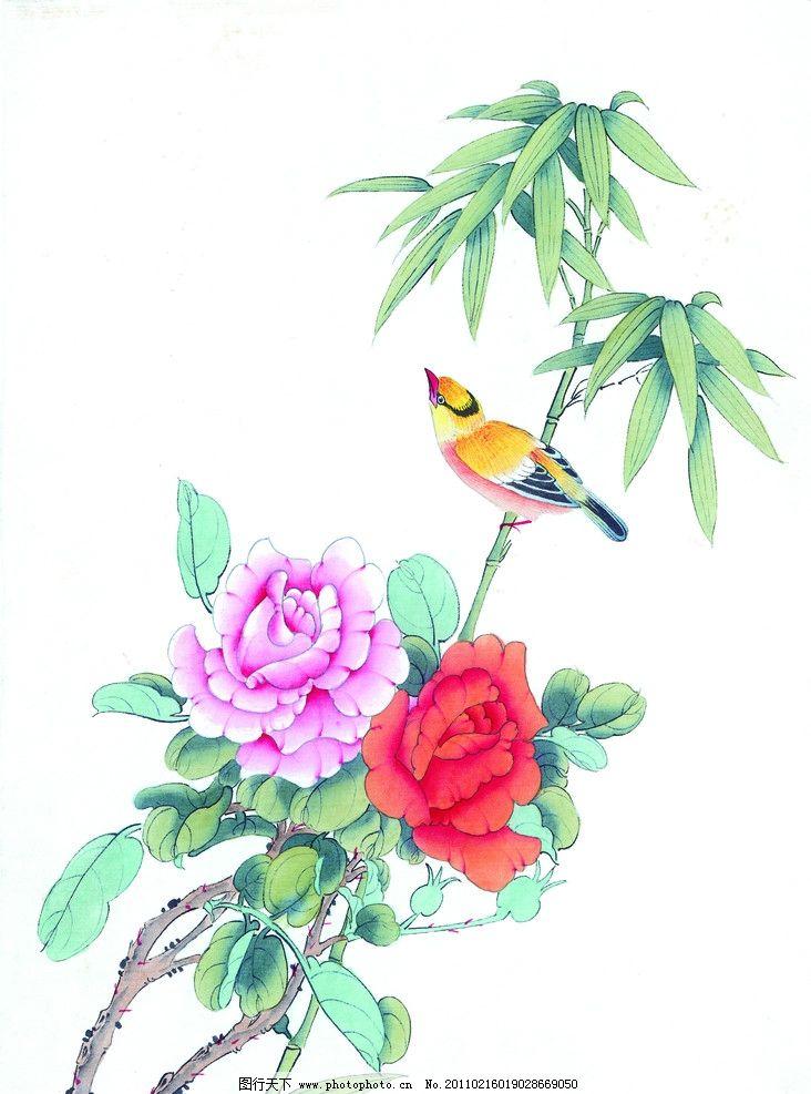 工笔画 花 鸟 牡丹花 竹子 竹叶 树枝 叶子 绘画书法 设计图库 工笔