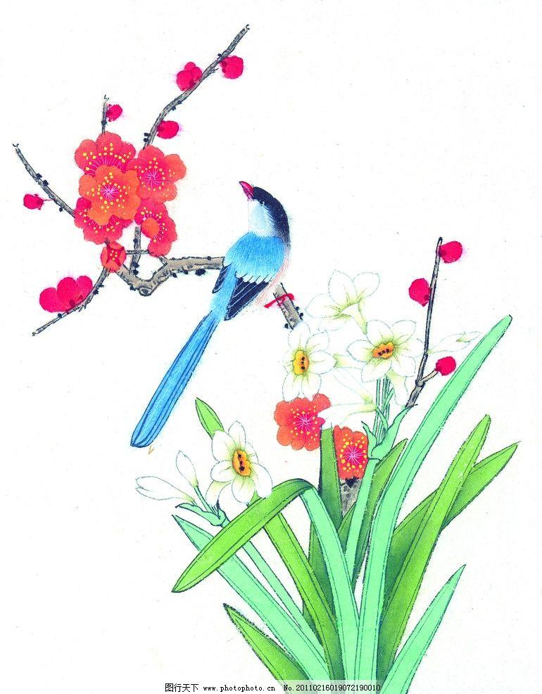 工笔画 工笔花鸟 国画 红梅花 鸟 喜鹊 绘画书法 文化艺术 设计 300