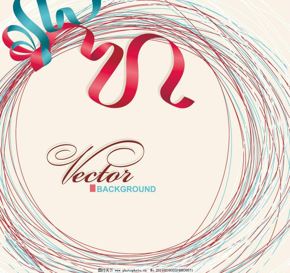 手绘线条花纹丝带圈圈图片