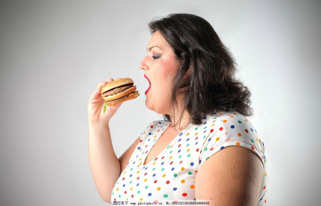 吃汉堡的肥胖女人图片