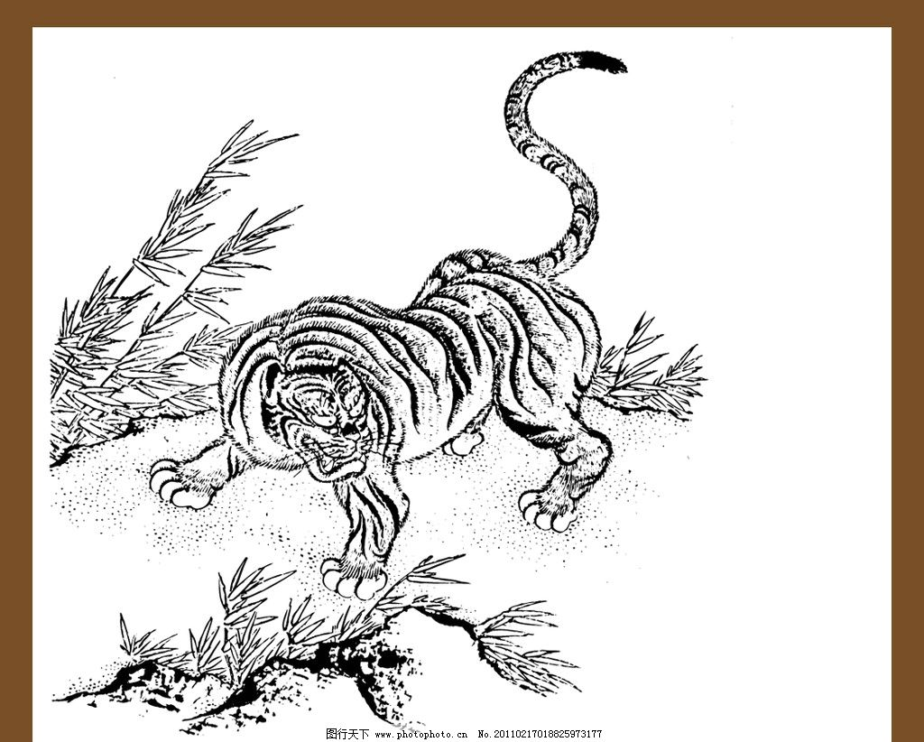 老虎图案 矢量老虎 下山虎 老虎 矢量图案 古代矢量纹样 传统纹样
