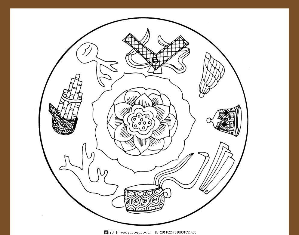 古代 乐器矢量图 古典乐器图案 矢量图案 传统纹样 传统图案 中国传统