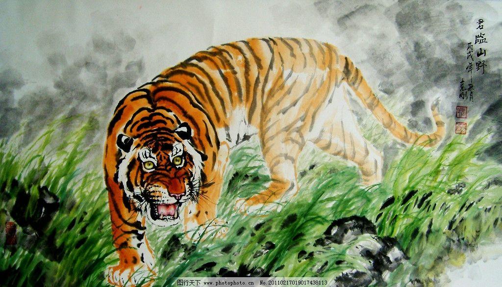 君临山野 美术 中国画 水墨画 彩墨画 动物画 虎 老虎 猛兽 草地 石头