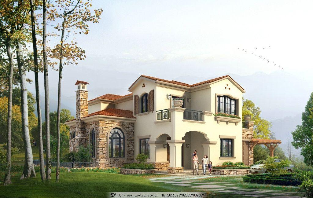 西班牙風格獨棟別墅效果圖圖片