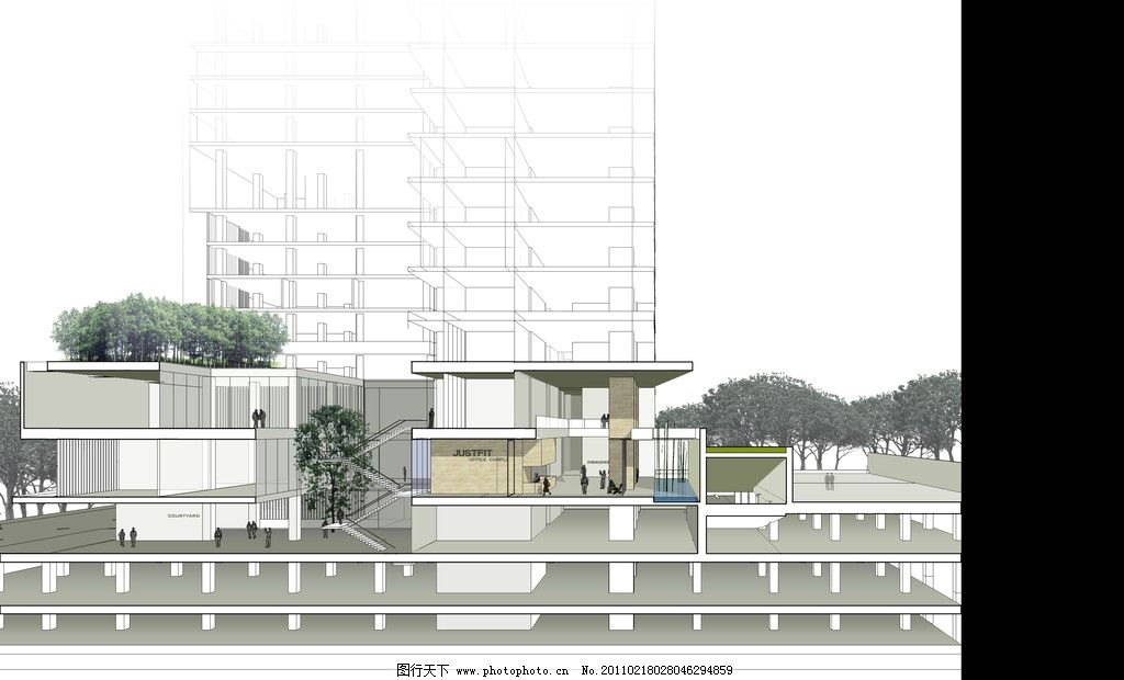 办公楼裙房剖透视图片_建筑设计_环境设计_图行天下