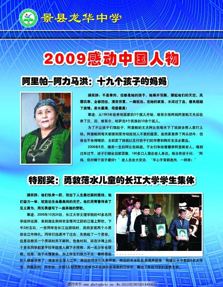 素质教育 2009年感动中国人物简介 照片 展板 蓝色 底纹 学校德育展室