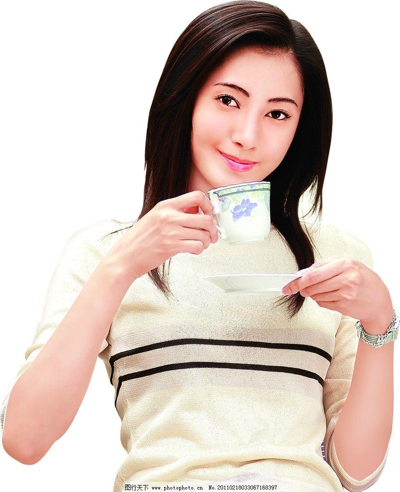 喝茶美女图片