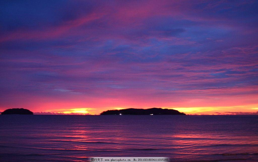 沙巴日落 海边 夕阳 黄昏 远山 美景 休闲 写意 海边高清图片