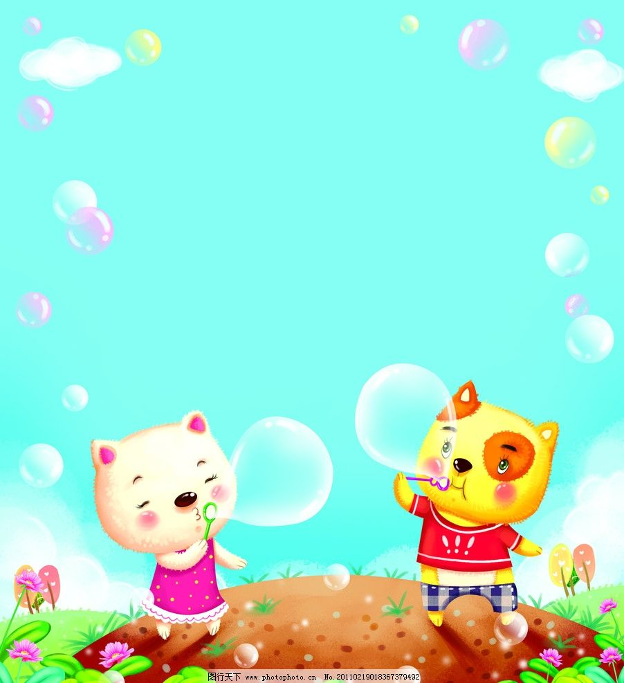 吹泡泡 小猫 猫咪 泡泡 蓝天 动漫人物 动漫动画 设计 330dpi jpg
