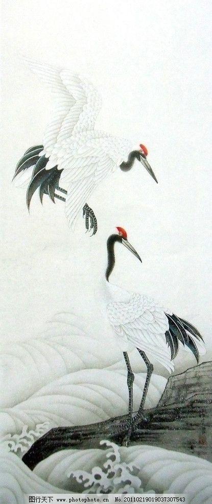 丹顶鹤 野生动物 鹤 山石 水花 黑红搭配 国画工笔画 美术国画 水墨画
