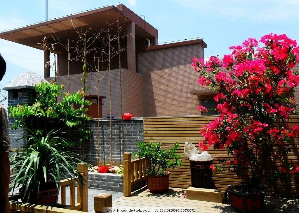 空中花园 休闲空间 防腐木景观 假山 水景 木平台      花架 景观设计