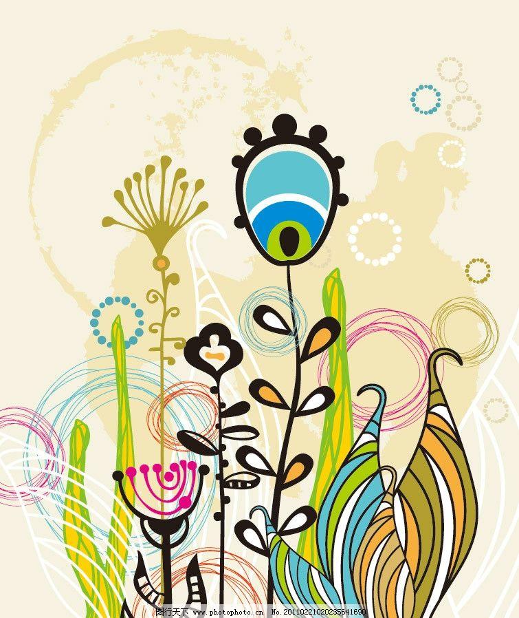 手绘可爱卡通涂鸦花纹花朵底纹图片