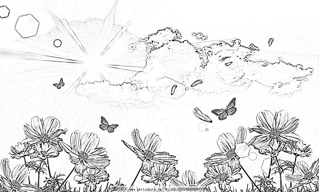 自然风景 风景矢量 花朵 鲜花矢量 蝴蝶 云朵 光线 草地 壁画 自然