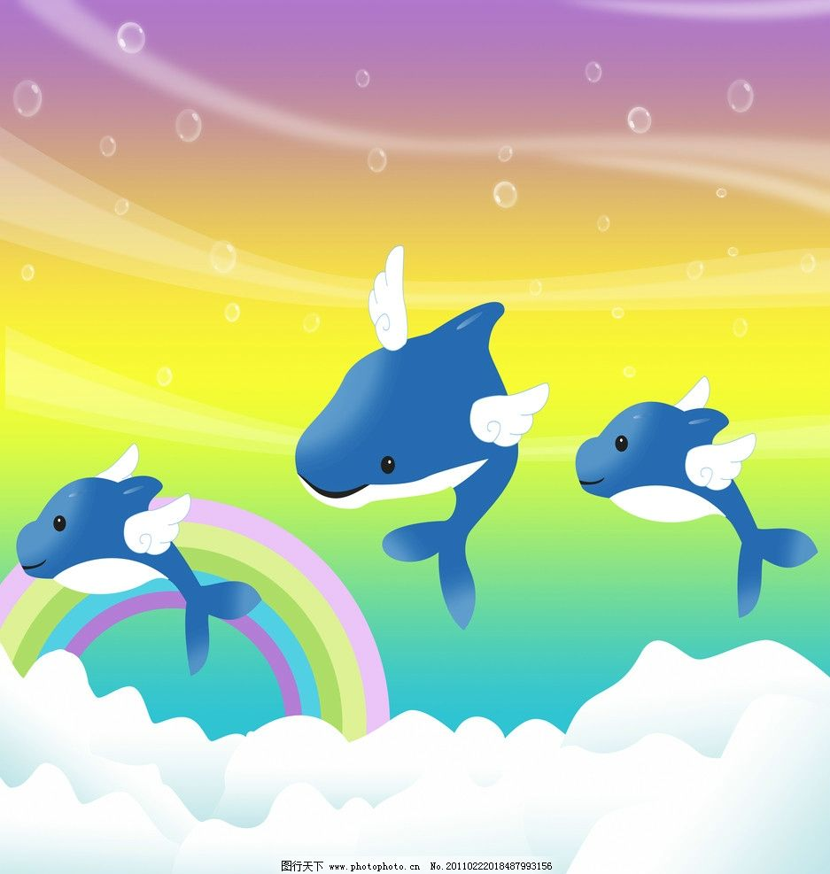 三只海豚 海豚 彩虹 移门 风景漫画 动漫动画 设计 72dpi jpg
