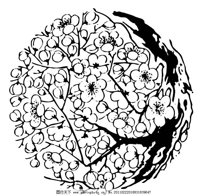 梅花图案 梅花纹样 古典素材 古典矢量 矢量图案 古代矢量纹样 传统