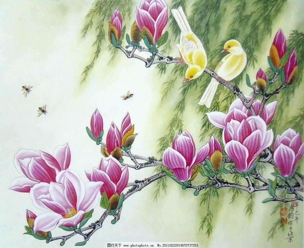 国画 山水 花鸟 国画山水花草 红玉兰花 紫红色花瓣 群花绽放 盛开