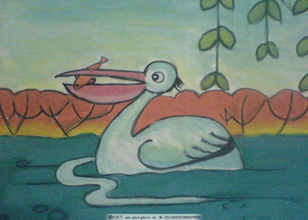 儿童画 幼儿园 仙鹤 鸭子 柳枝 树木 水 绘画书法 文化艺术 设计 72