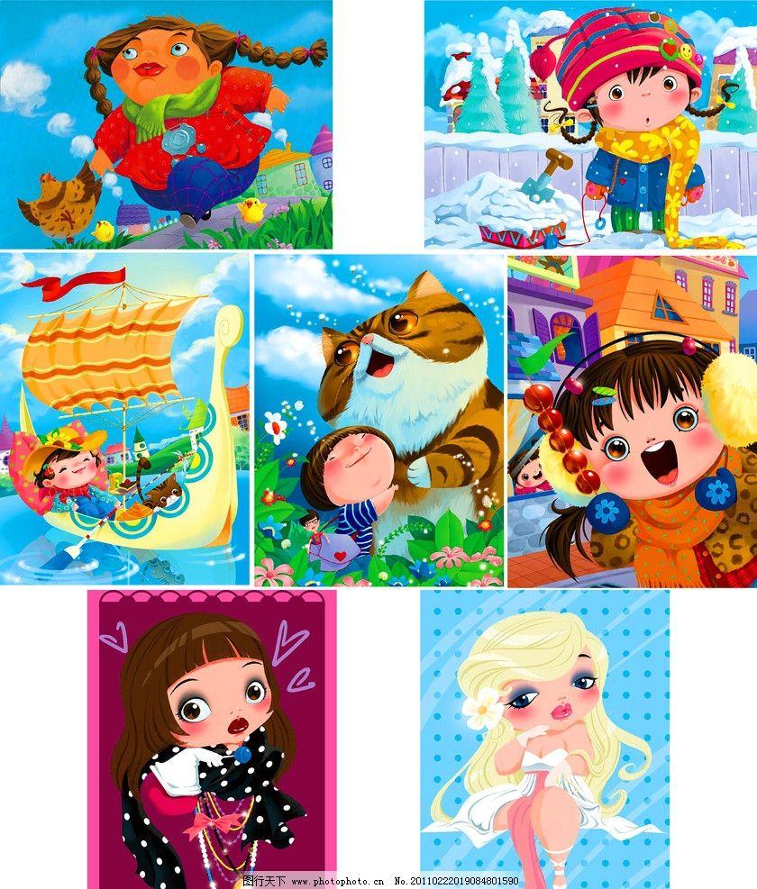 童年 装饰画 无框画 油画 手绘 绘画 绘本 印刷 卡通 趣味 可爱 人物