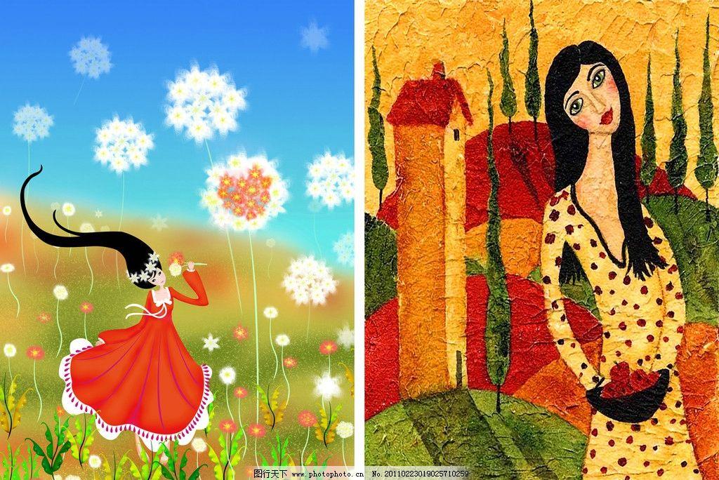 手绘红裙子女孩
