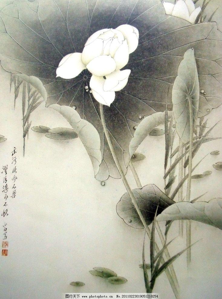 优质荷花素材 初稿上色 中国工笔画 美术国画 水墨画 彩墨画 荷花国画