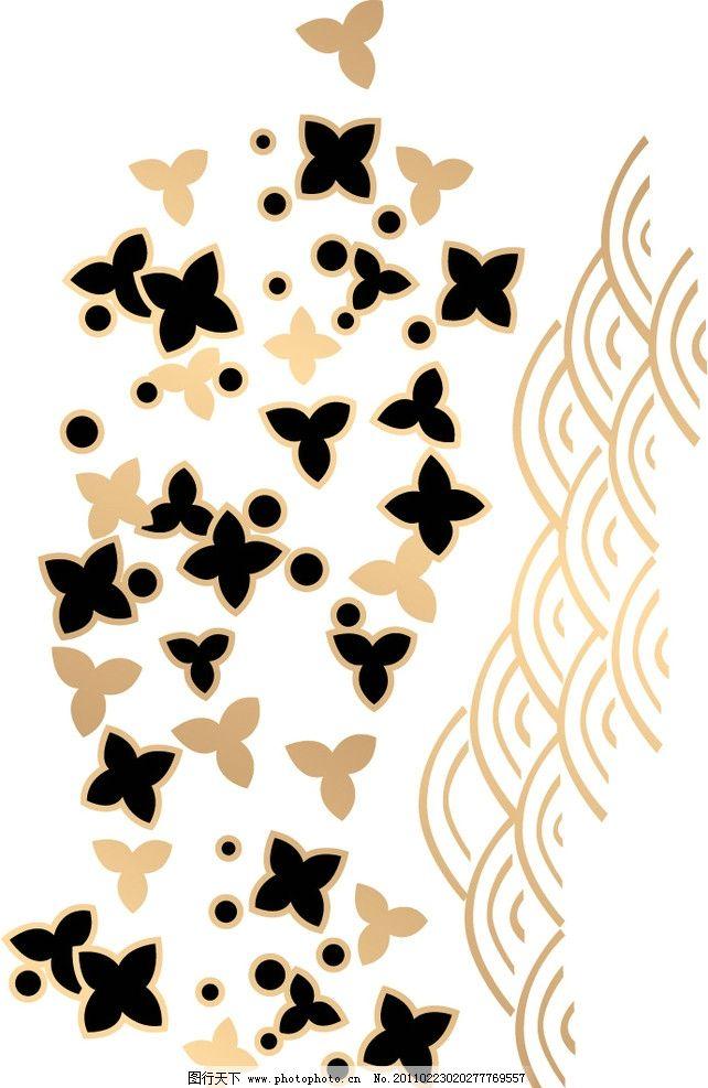 星花浪 星星 星点 小花 海浪 底纹背景 底纹边框 矢量 eps