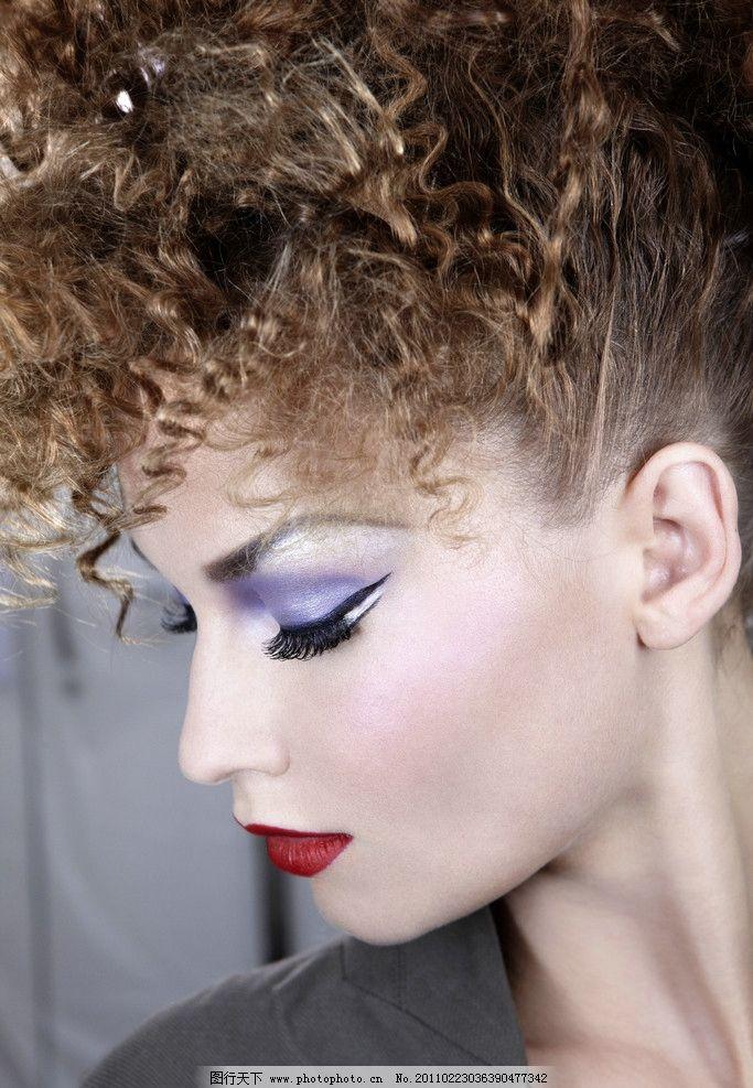 化妆模特 外国 模特 女人 眼影 红唇 发型 人物摄影 人物图库 摄影图片