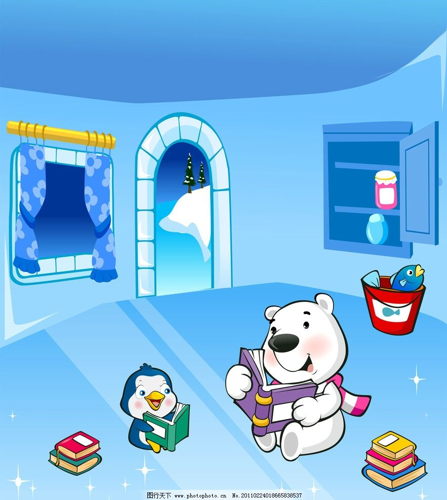 小熊看书图片_其他_动漫卡通