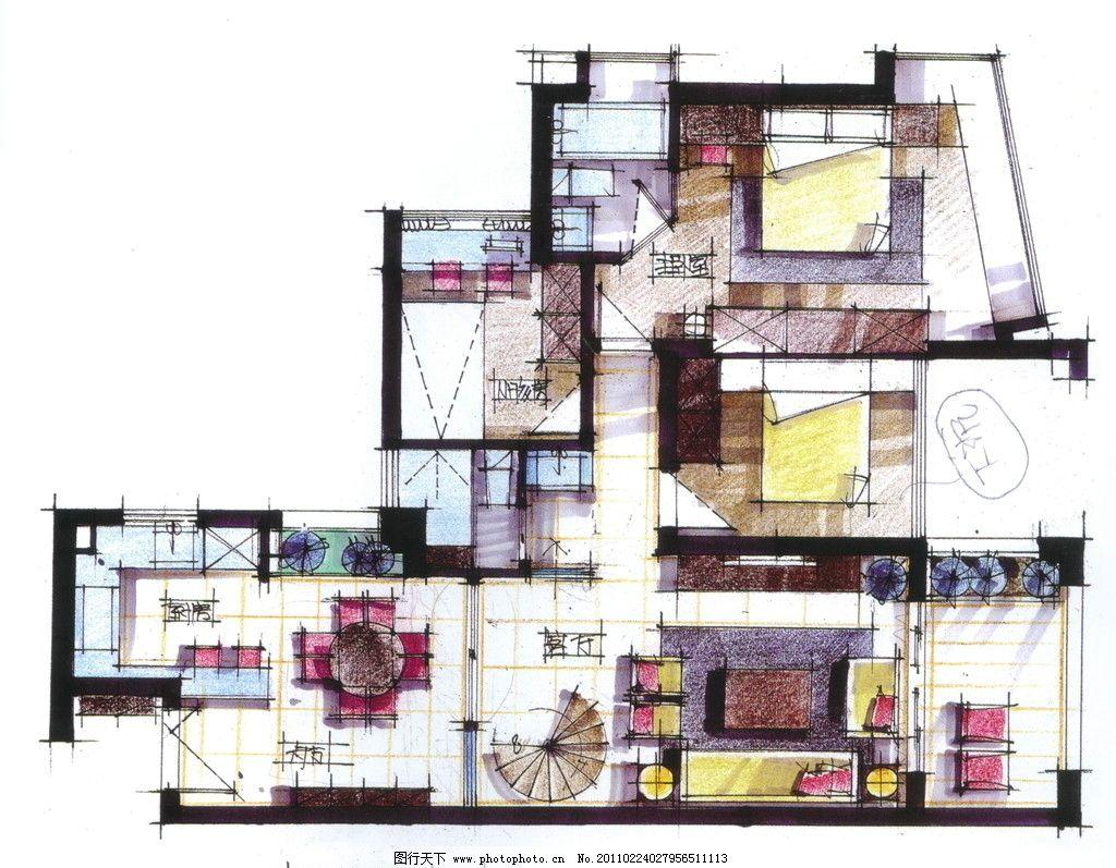 手绘作品 室内 室内手绘图 手绘素材 室内装饰 室内平面图 室内设计