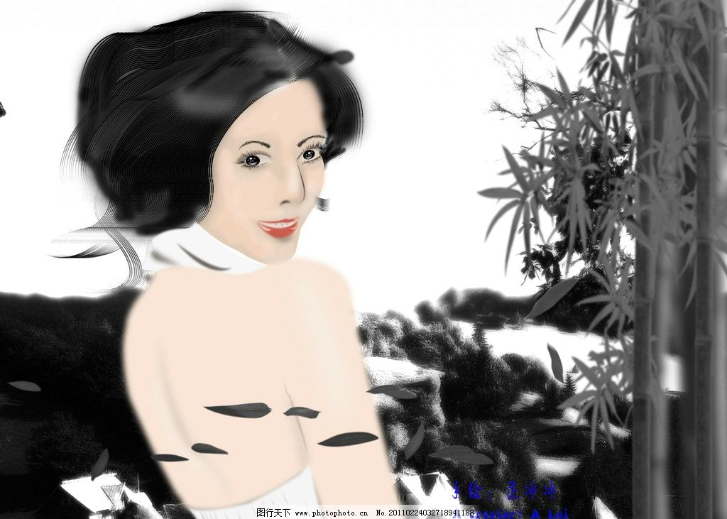 手绘美女 竹子 竹叶 艺术 分层 唯美 梦幻 梳妆 源文件