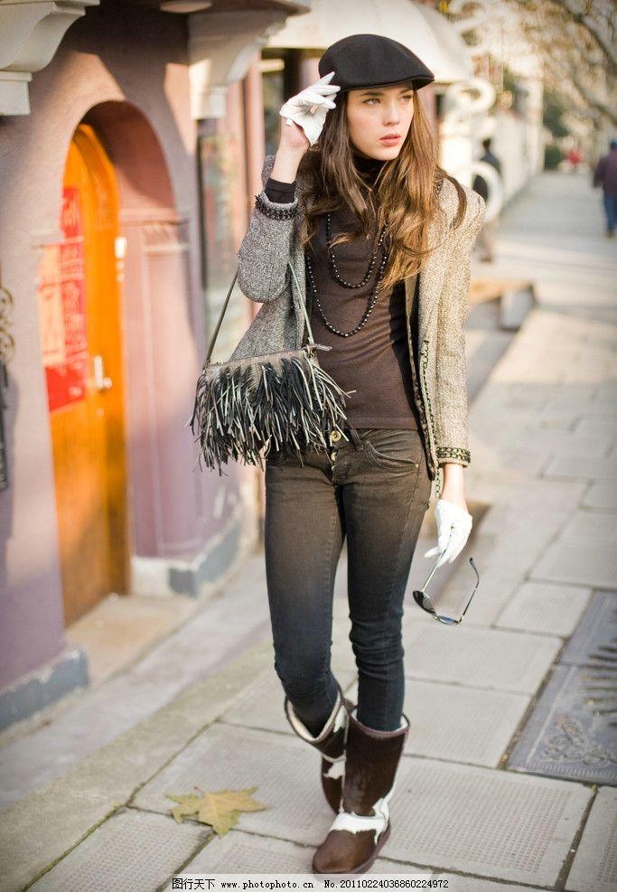 美女图片 时尚/时尚戴帽子提包包的美女图片